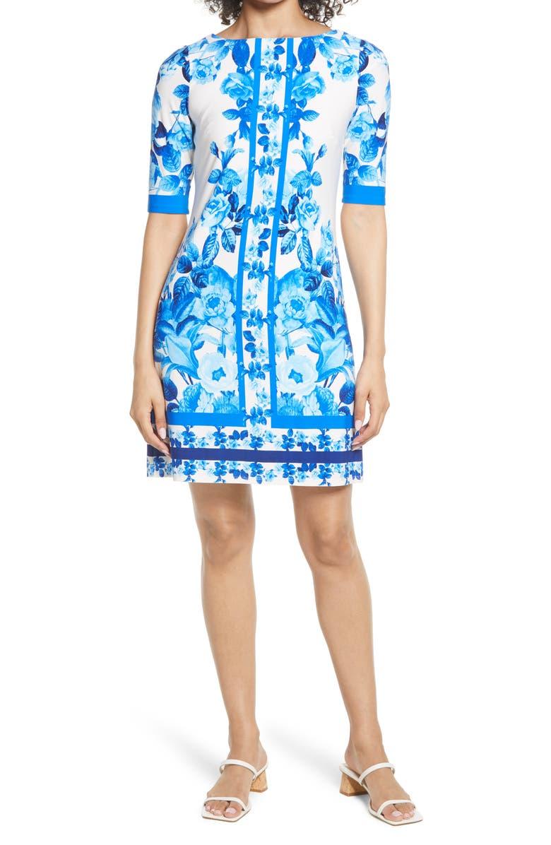 ELIZA J Border Print Sheath Dress, Main, color, BLUE