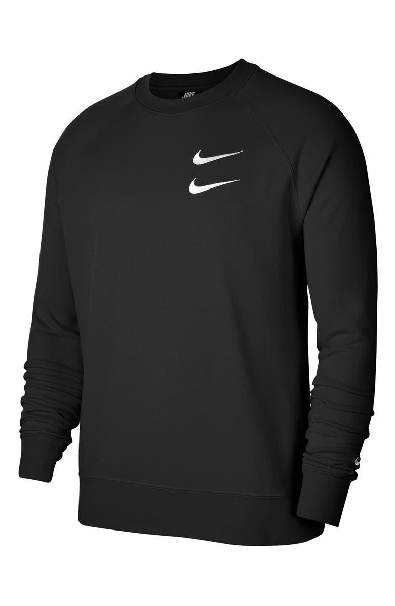 NIKE Sportswear Swoosh Crewneck Sweatshirt, Main, color, BLACK/ WHITE