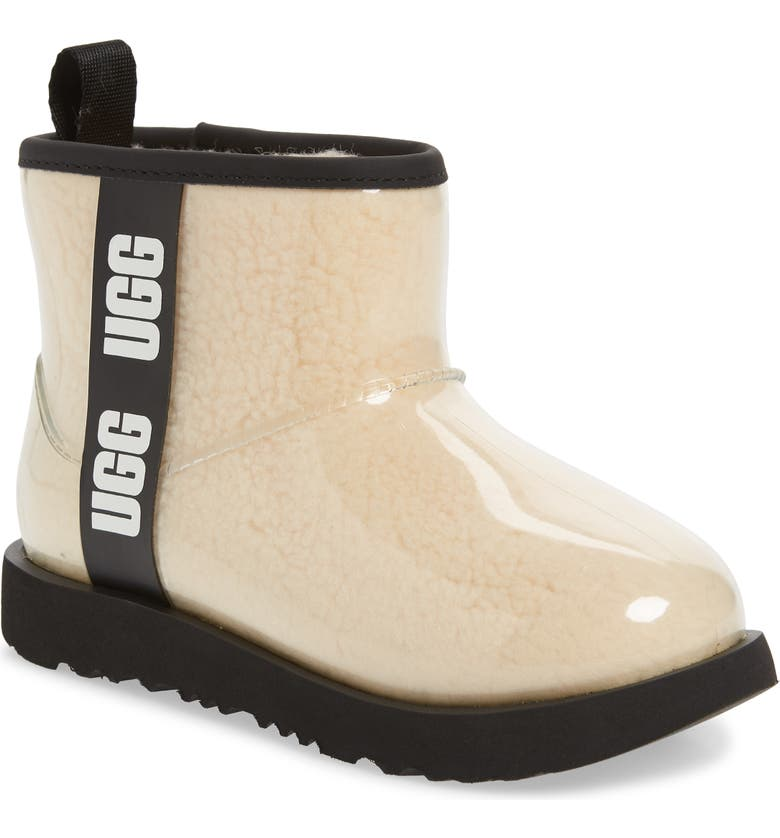 UGG<SUP>®</SUP> Mini Classic II Waterproof Clear Boot, Main, color, NATURAL / BLACK