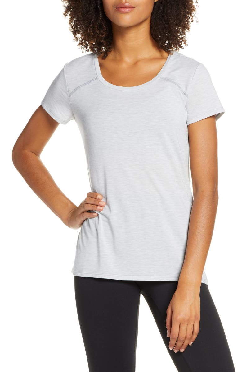ZELLA Serenity Swoop Tee, Main, color, GREY HEATHER