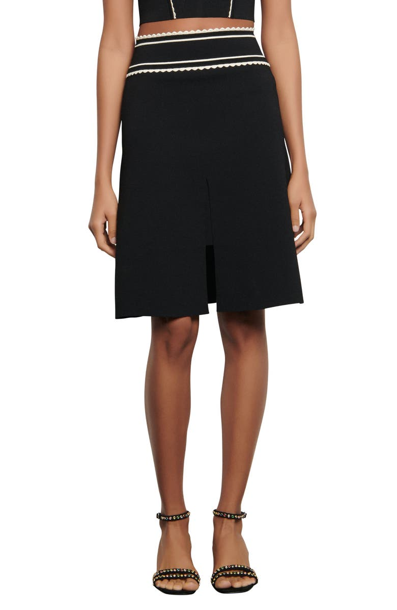 SANDRO Anna Contrast Detail A-Line Skirt, Main, color, BLACK