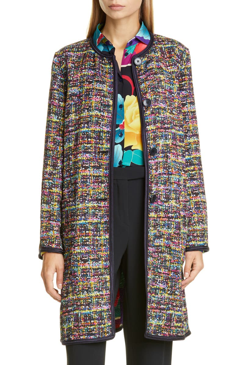 ETRO Reversible Tweed Jacket, Main, color, PURPLE