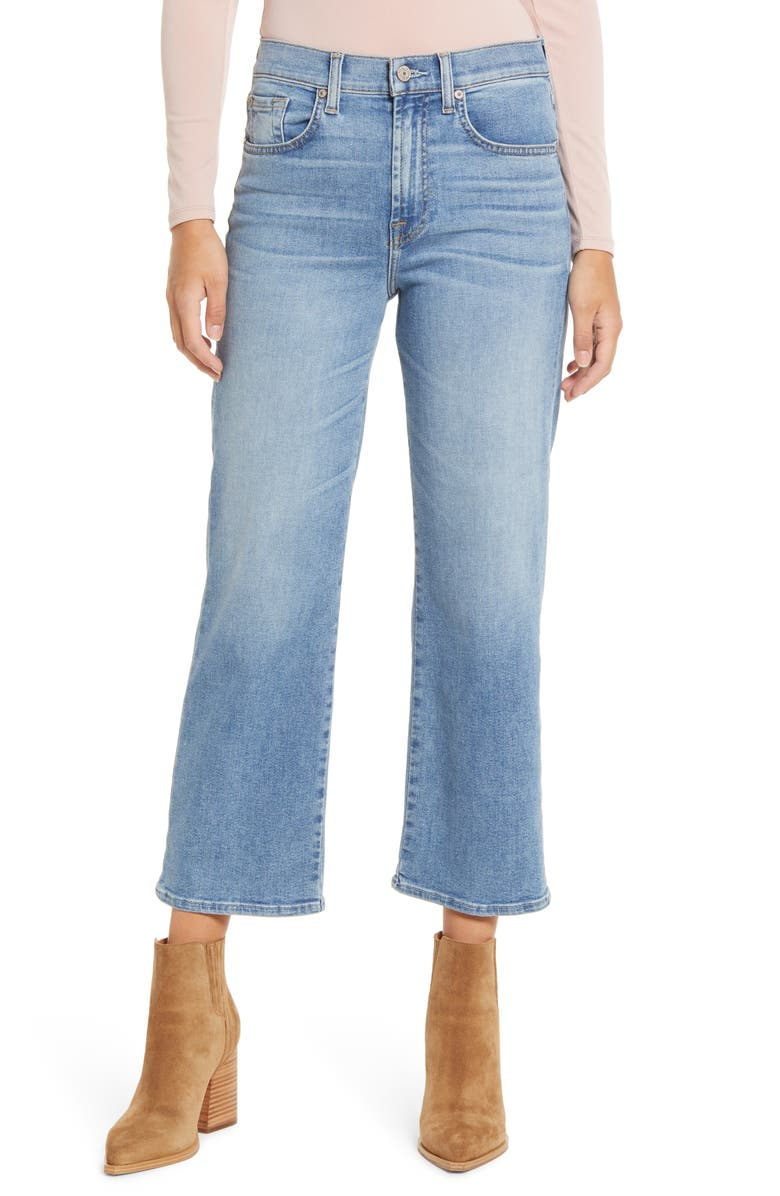 7 FOR ALL MANKIND<SUP>®</SUP> Alexa High Waist Crop Wide Leg Jeans, Main, color, LAKESIDE