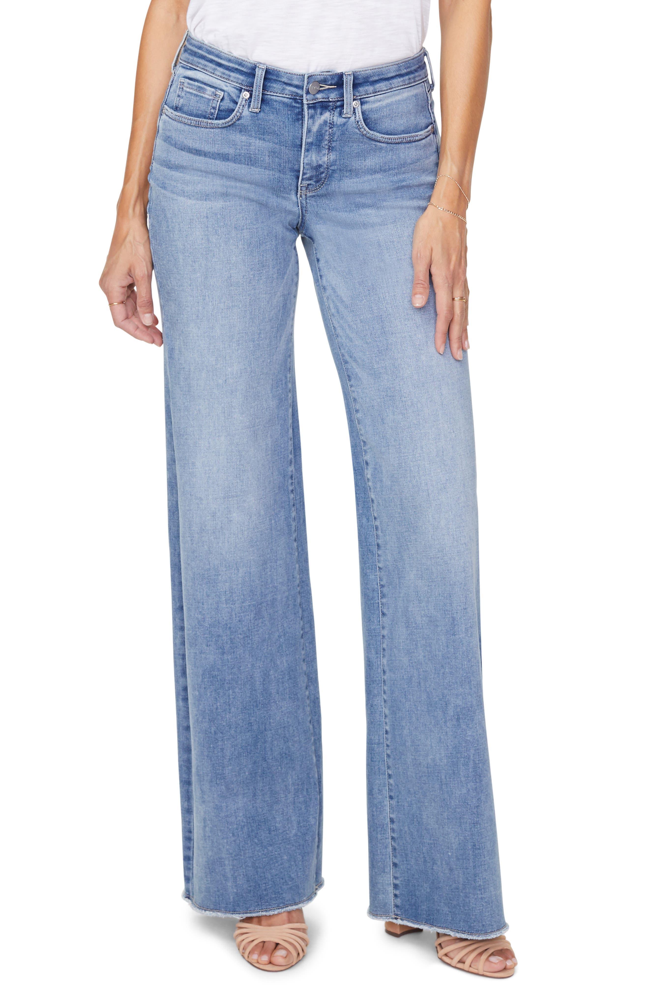Petite Women's NYDJ Teresa Fray Hem Wide Leg Jeans