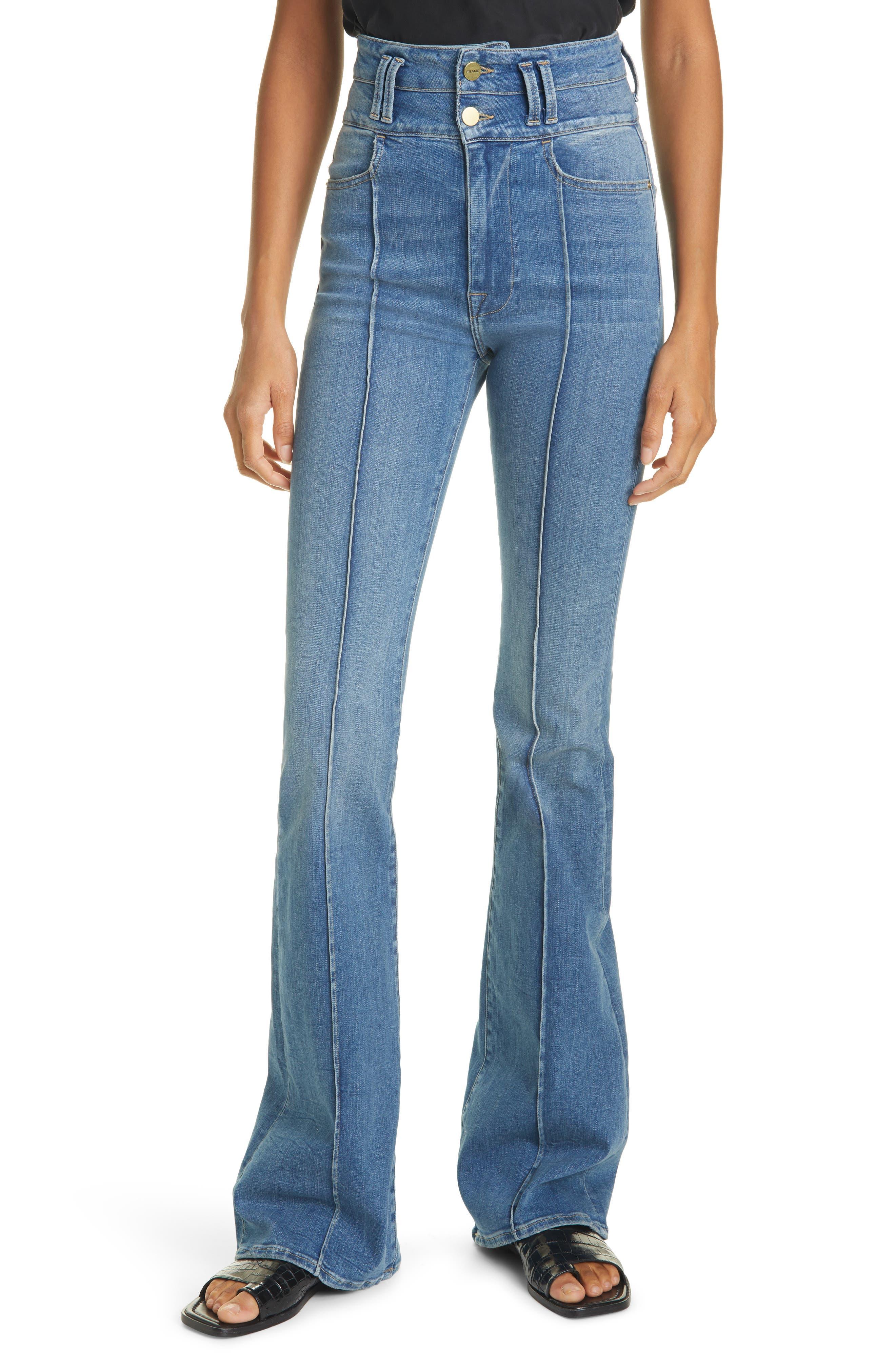Women's Frame Le Catroux Center Seam High Waist Flare Jeans