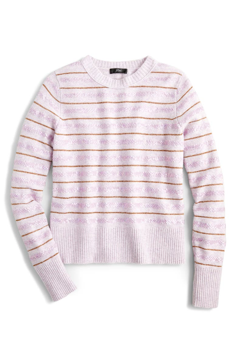 J.CREW Sequin Stripe Supersoft Yarn Sweater, Main, color, 500