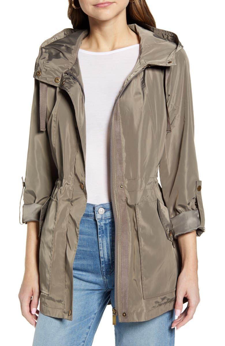 HALOGEN<SUP>®</SUP> Hooded Cinch Waist Rain Jacket, Main, color, TAN MEMOIR