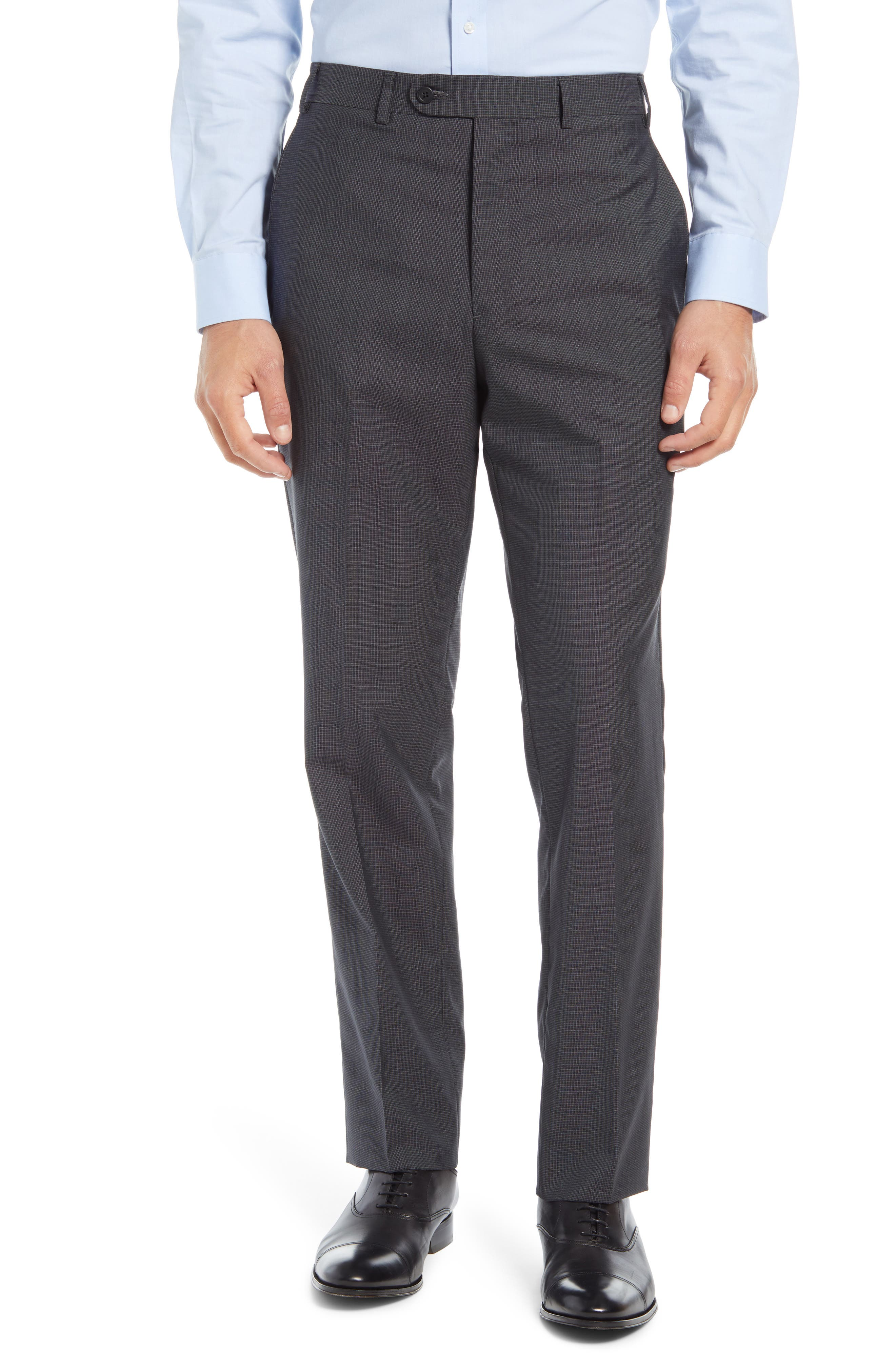 Image of John W. Nordstrom Flat Front Micro Plaid Wool & Silk Trousers