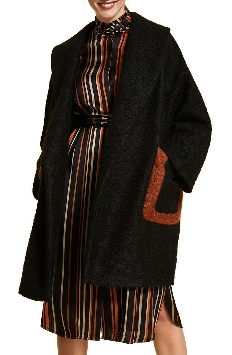 MARINA RINALDI Terzetto Wool & Mohair Blend Bouclé Coat, Main, color, BLACK