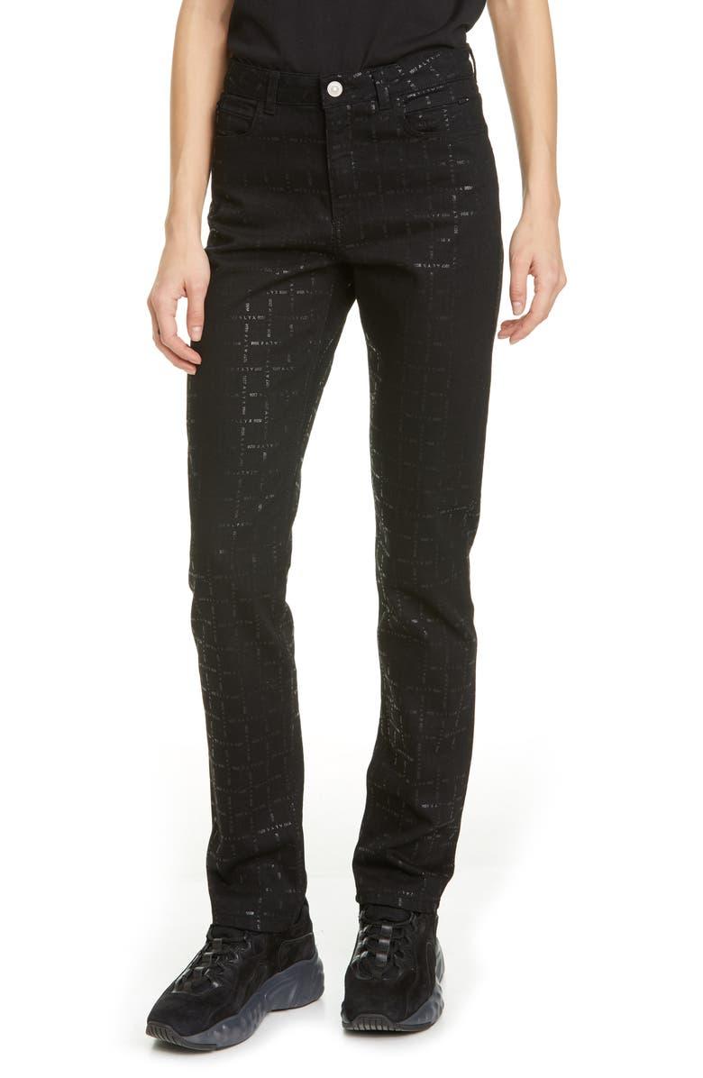 1017 ALYX 9SM Logo Print High Waist Skinny Jeans, Main, color, BLACK