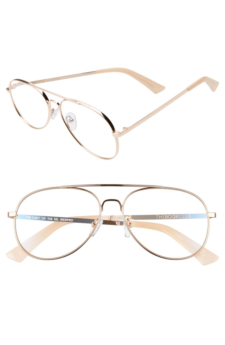 THE BOOK CLUB The Fart of the Eel 57mm Blue Light Blocking Reading Glasses, Main, color, ROSE GOLD