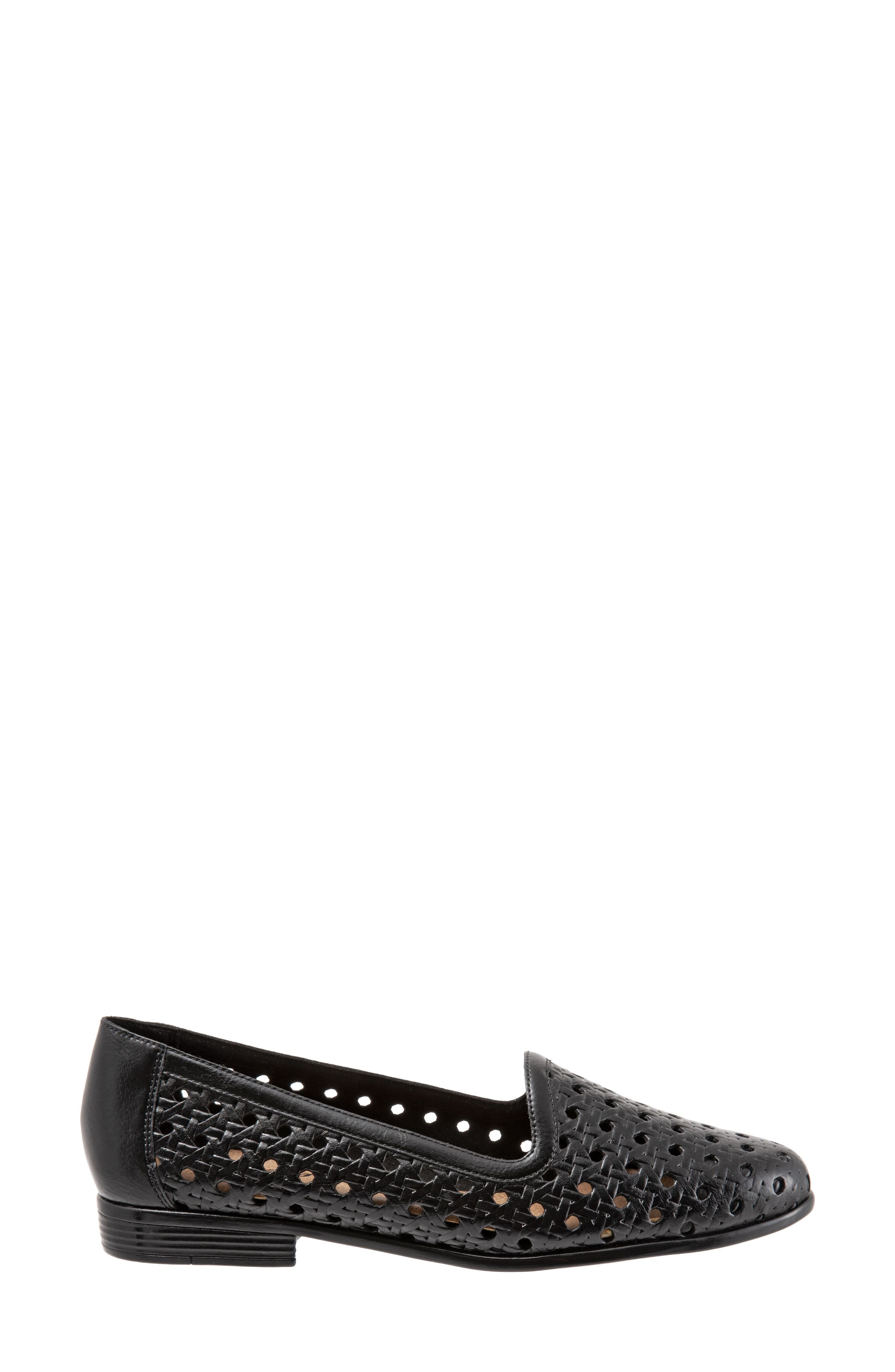 ,                             Liz Woven Loafer Flat,                             Alternate thumbnail 3, color,                             BLACK/ BLACK LEATHER