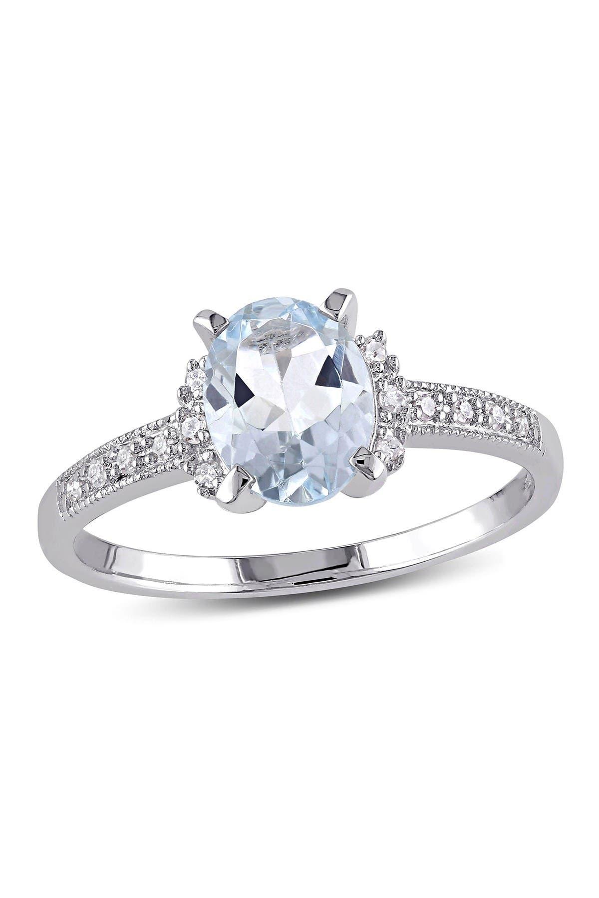 Image of Delmar Sterling Silver Aquamarine & Diamond Fashion Ring