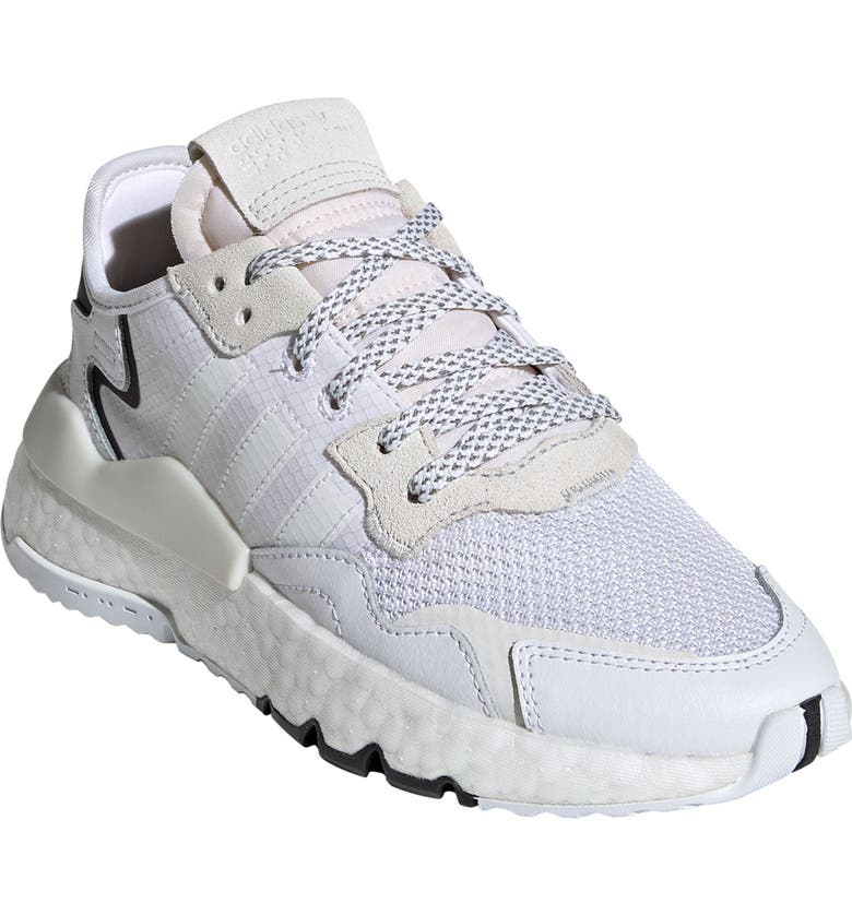 ADIDAS Nite Jogger J Sneaker, Main, color, WHITE/ WHITE/ CRYSTAL WHITE