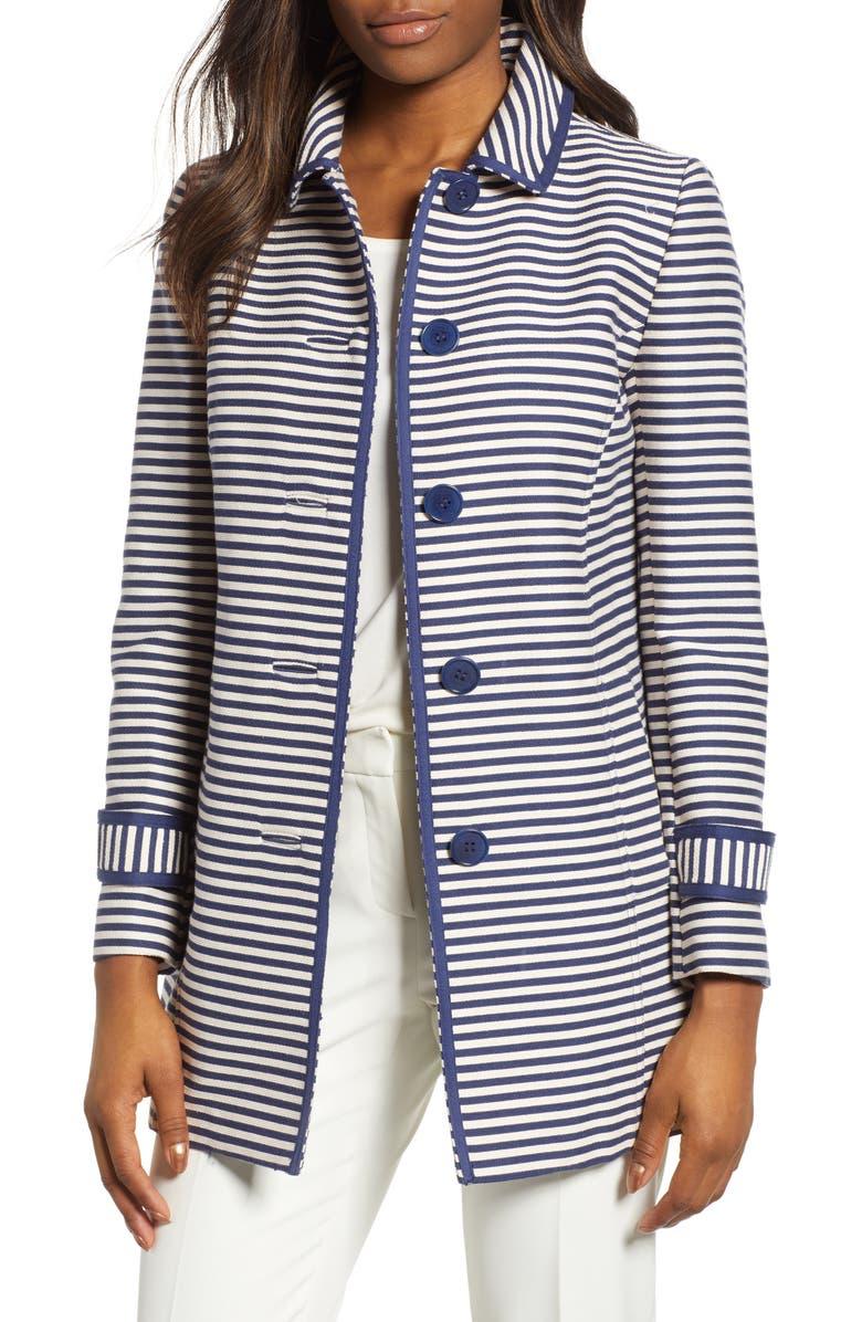 ANNE KLEIN Stripe Topper Jacket, Main, color, 100