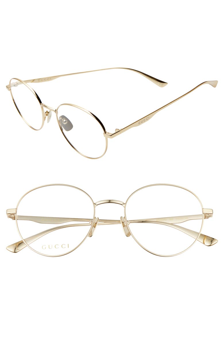 GUCCI 53mm Round Optical Glasses, Main, color, 710