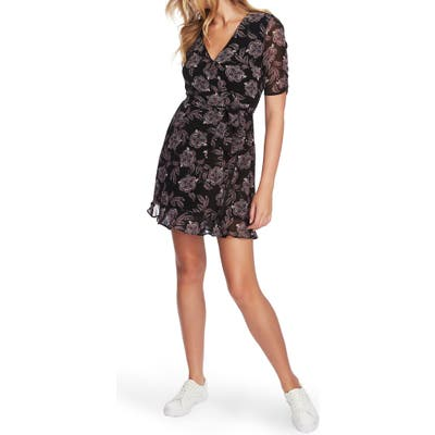 1.state Ruched Sleeve Baroque Faux Wrap Dress, Black
