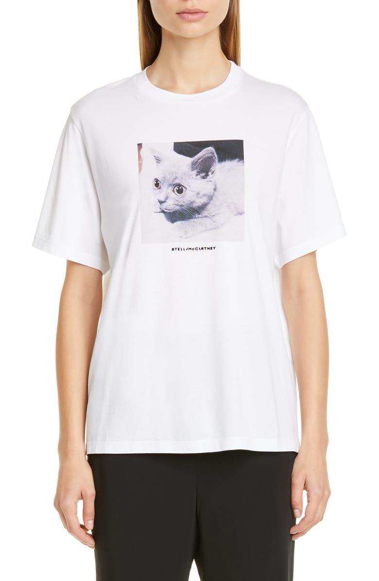 STELLA MCCARTNEY Cat Print Tee, Main, color, PURE WHITE