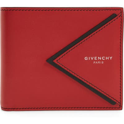Givenchy V-Shape Bifold Leather Wallet - Red
