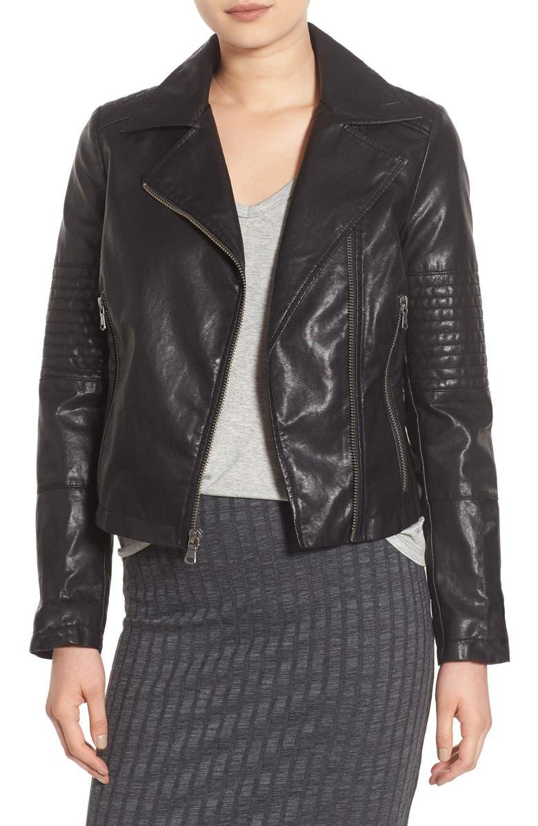 LEVI'S<SUP>®</SUP> Faux Leather Moto Jacket, Main, color, 001