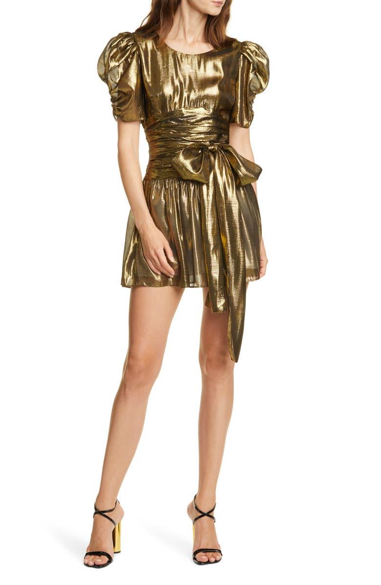 LOVESHACKFANCY Mercy Metallic Silk Puff Sleeve Minidress, Main, color, GOLD