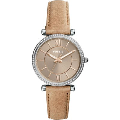 Fossil Carlie T-Bar Crystal Leather Strap Watch, 35Mm