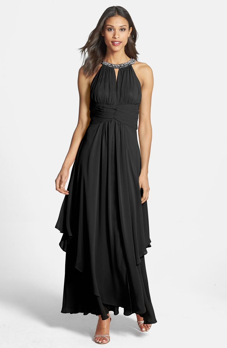 ELIZA J Embellished Tiered Chiffon Halter Gown, Main, color, 001