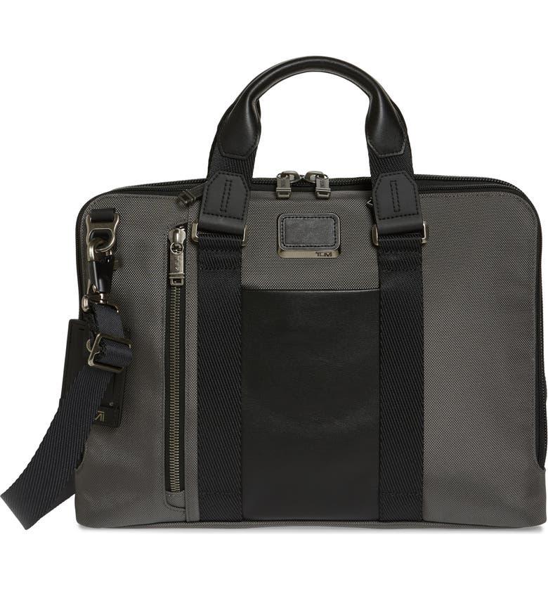 TUMI Bravo Aviano Slim Briefcase, Main, color, CASTLE GREY/ BLACK