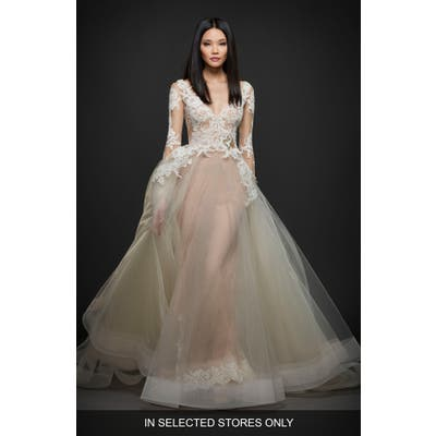 Lazaro Long Sleeve Lace & Organza Ballgown, Size IN STORE ONLY - Pink