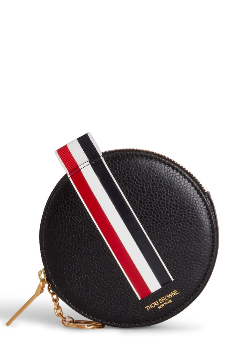 THOM BROWNE Round Leather Coin Purse, Main, color, BLACK