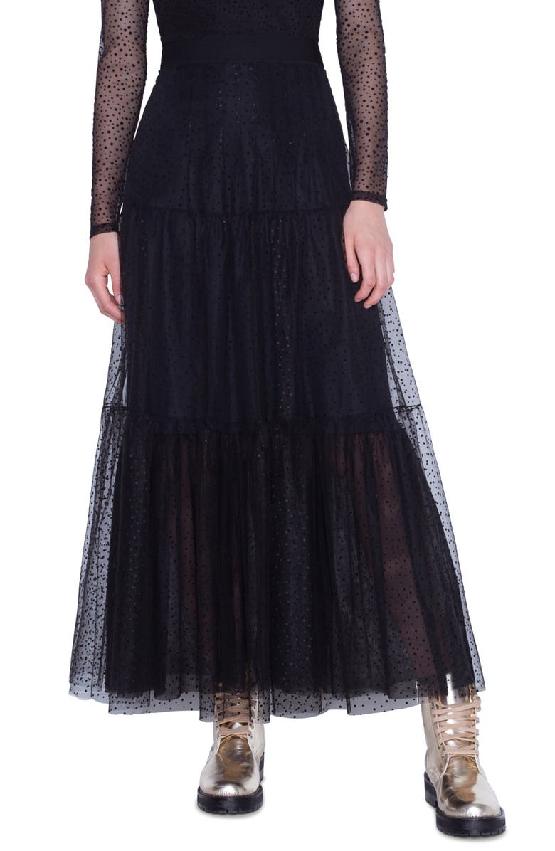 AKRIS PUNTO Starry Sky Tiered Tulle Maxi Skirt, Main, color, 001