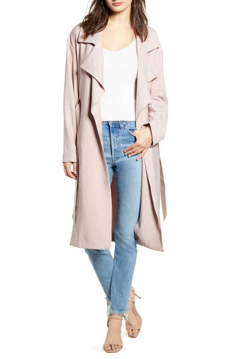 LEITH Soft Trench Coat, Main, color, PINK ADOBE