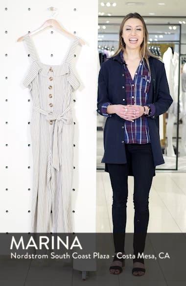 Stripe Tie Front Linen Blend Jumpsuit, sales video thumbnail