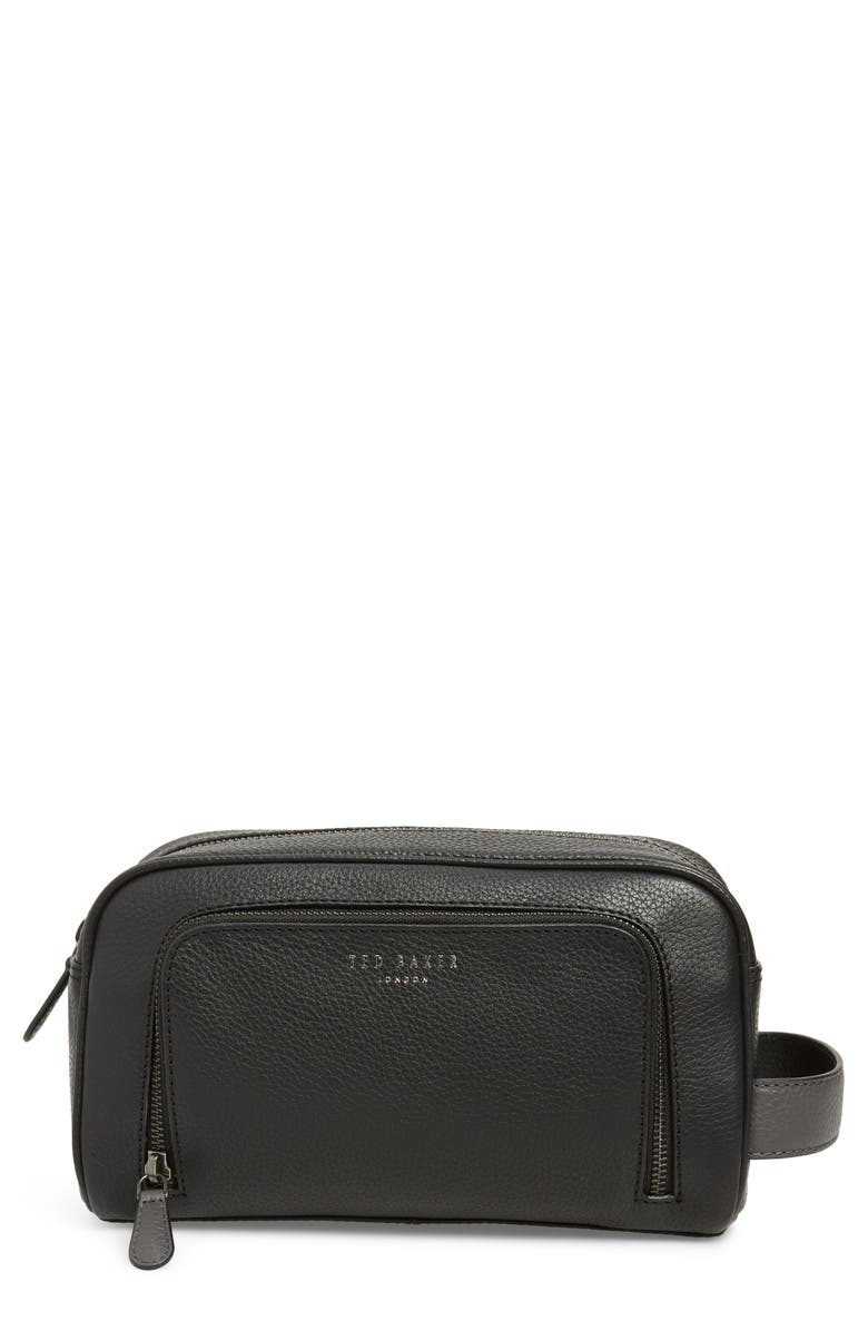 TED BAKER LONDON Core Leather Dopp Kit, Main, color, BLACK