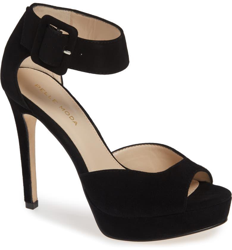 PELLE MODA O'Neal Platform Sandal, Main, color, BLACK SUEDE