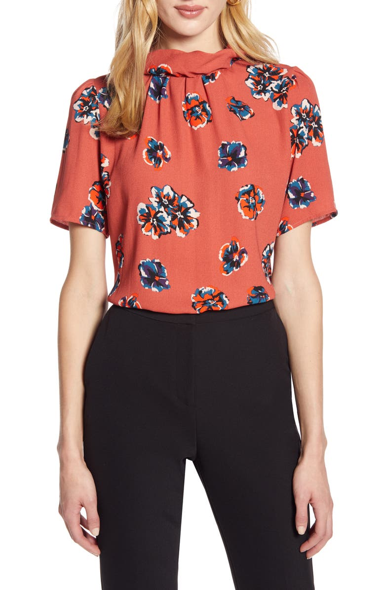 HALOGEN<SUP>®</SUP> Floral Print Pleated Neck Top, Main, color, RUST FLORAL