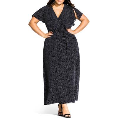 Plus Size City Chic Flirty Pin Spot Short Sleeve Dress, Black