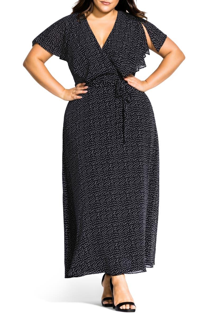 CITY CHIC Flirty Pin Spot Short Sleeve Dress, Main, color, PIN SPOT