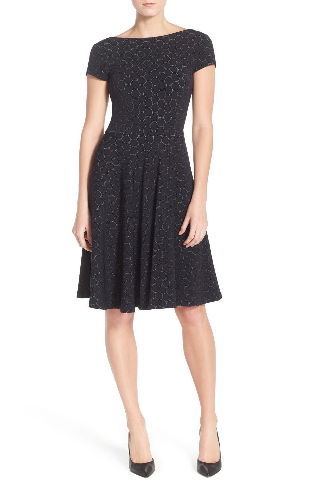 'Circle' Jacquard Woven Jersey Dress, Main, color, BLACK CAMEO CLOTH
