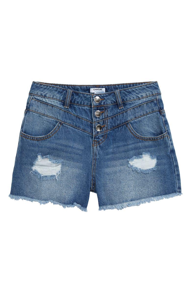 BEBE High Waist Denim Shorts, Main, color, MED STONE
