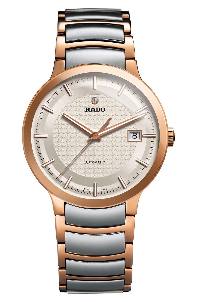 RADO Centrix Logo Embossed Automatic Bracelet Watch, 38mm, Main, color, 040