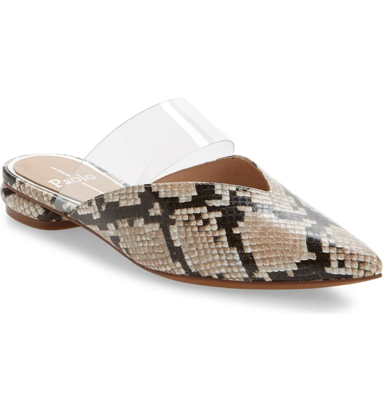 LINEA PAOLO Abril Pointy Toe Mule, Main, color, IVORY SNAKE PRINT LEATHER