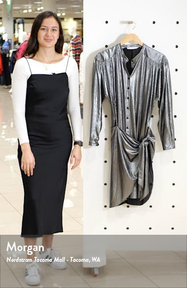 Willow Metallic Long Sleeve Shirtdress, sales video thumbnail