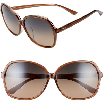 Maui Jim Taro 5m Polarizedplus2 Round Sunglasses - Caramel W/ Pink/ Hcl Bronze