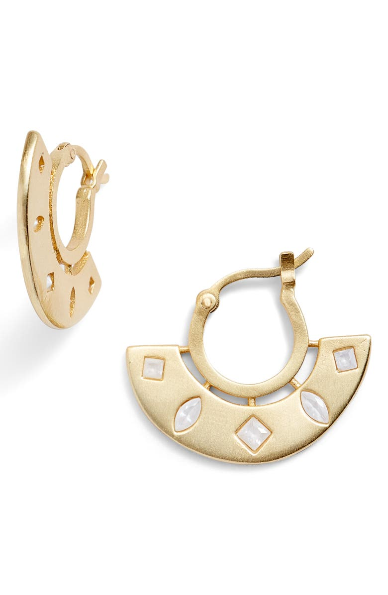 GORJANA Maya Cubic Zirconia Huggie Fan Earrings, Main, color, WHITE/ GOLD