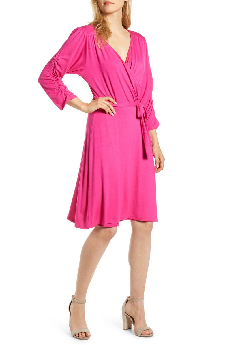 LOVEAPPELLA Tie Waist Wrap Dress, Main, color, MAGENTA