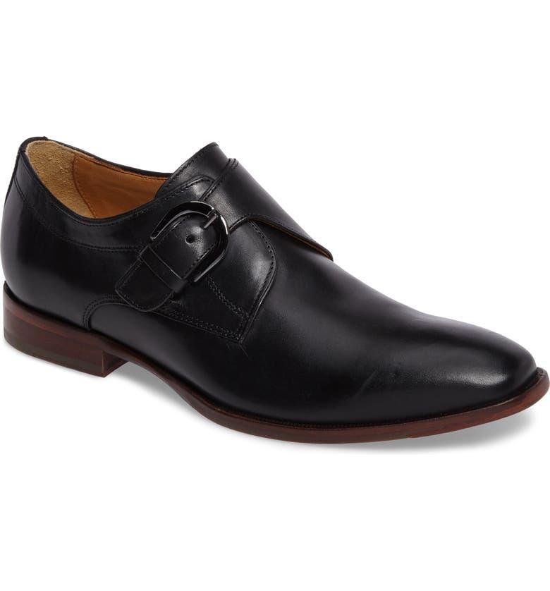 JOHNSTON & MURPHY McClain Monk Strap Shoe, Main, color, BLACK
