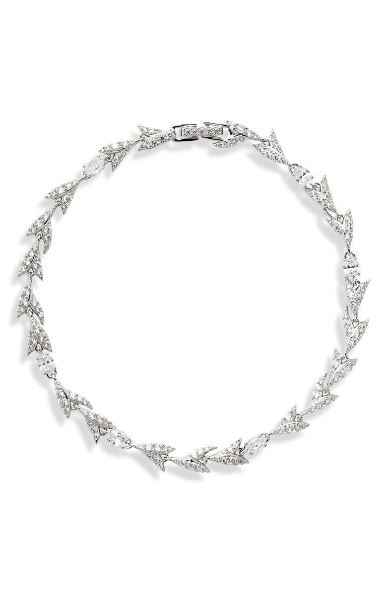 NADRI Liv Leaf Line Bracelet, Main, color, RHODIUM