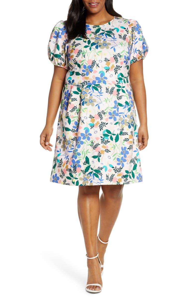 ELOQUII Puff Sleeve Sheath Dress, Main, color, GARDEN VARIETY