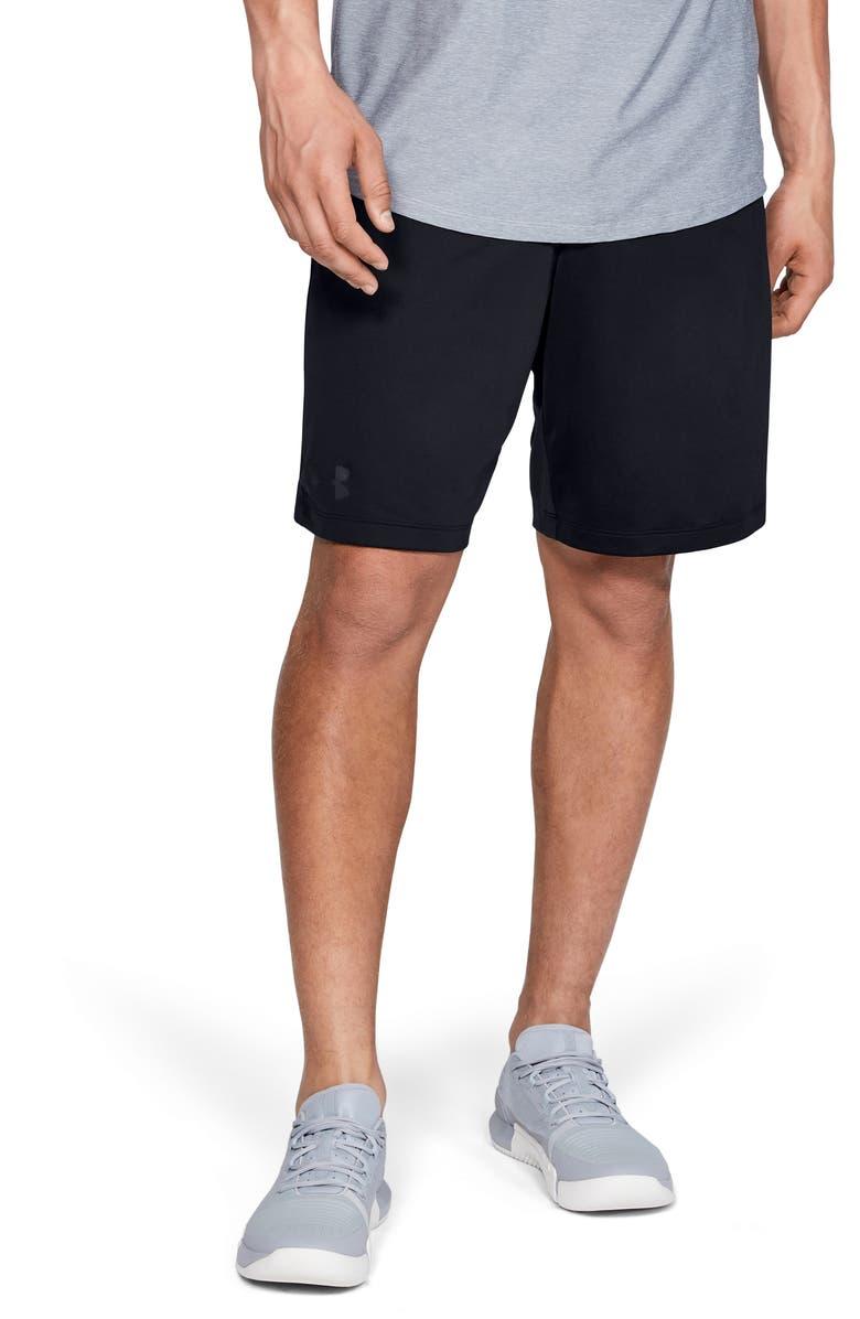 UNDER ARMOUR MK1 HeatGear<sup>®</sup> Wordmark Performance Athletic Shorts, Main, color, BLACK/ JET GREY